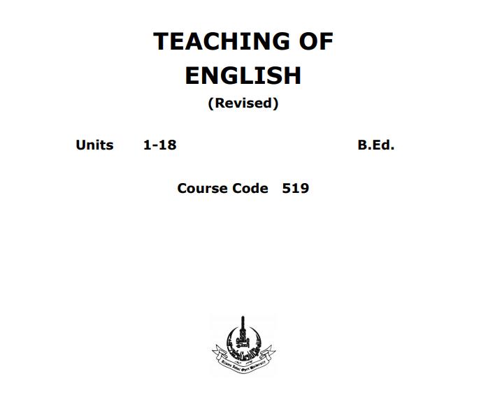 0519/TEACHING OF ENGLISH AIOU B.ED Book Download pdf