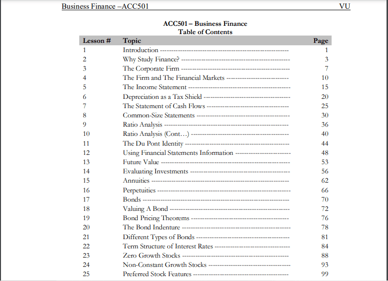 ACC501/Business Finance lesson handouts pdf