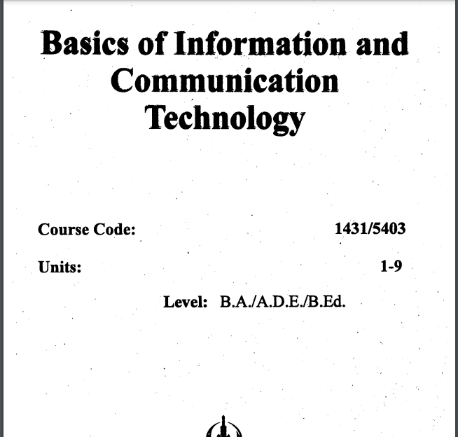 5403/BASIC OF INFORMATION & COMMUNICATION TECHNOLOGY Aiou B.ED Book Download