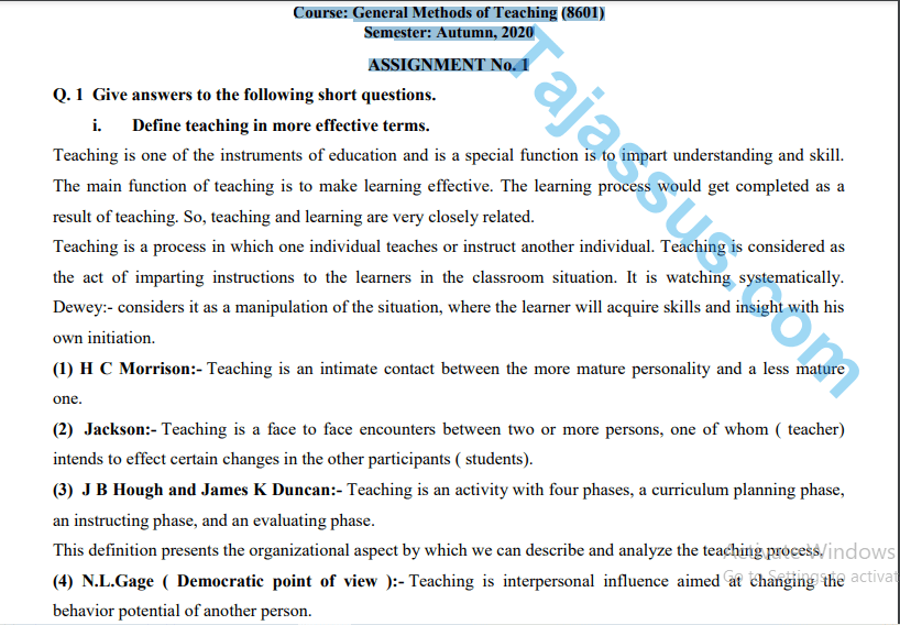8601 AIOU Solved Assignment No.1 2020 (General Methods of Teaching) Download