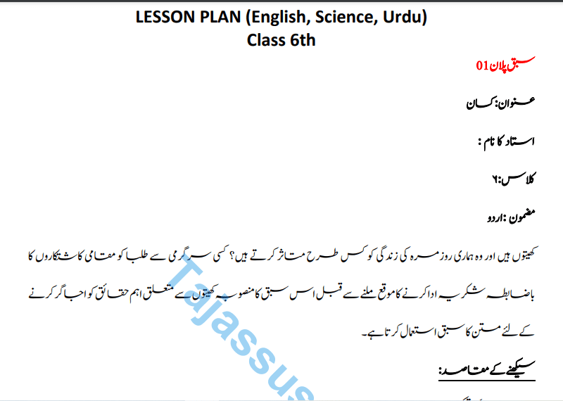 40 Lesson Plan 6th Grade AIOU Eng, Sci, Urdu Download Pdf