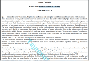 8604 AIOU Solved Assignment No.1 2020 (Research Methods in Teaching ) Download