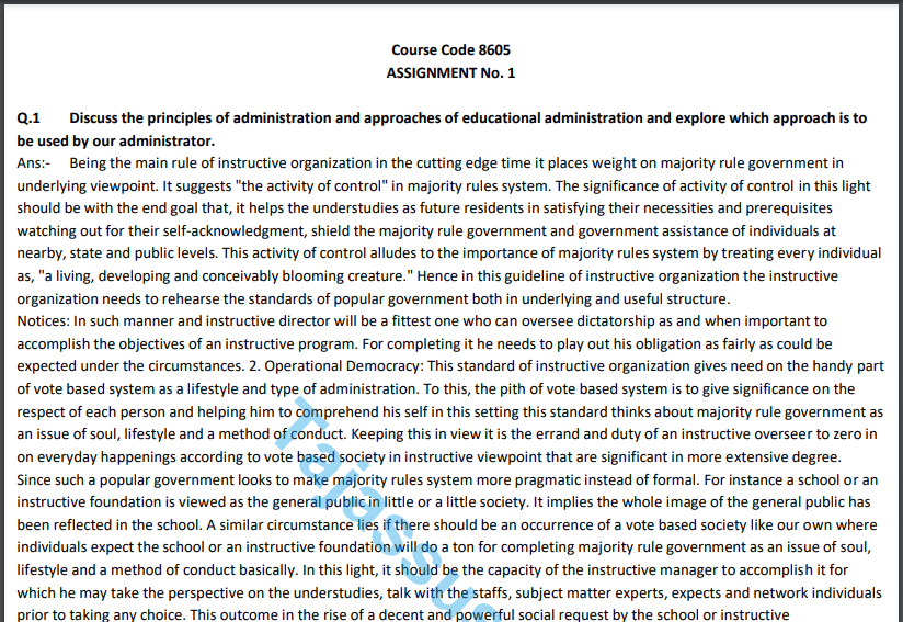 8605 AIOU Solved Assignment No.1 2020 (Educational Leadership And Management ) Download