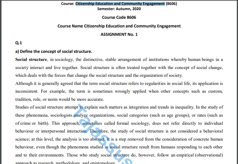 8606 AIOU Solved Assignment No.1 2020 (Citizenship Education and Community Engagement) Download