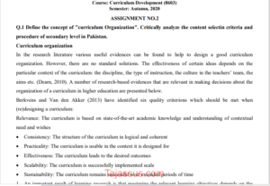 AIOU Solved Assignment 8603/B.Ed Autumn 2020-2021 Solved Assignment No 2 Download Free pdf