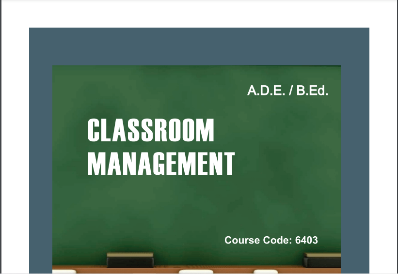6403/CLASSROOM MANAGEMENT AIOU B.ED Book Download