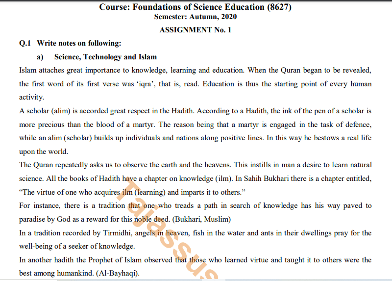 AIOU Solved Assignment No.1 8627/Foundations of Science Education Download