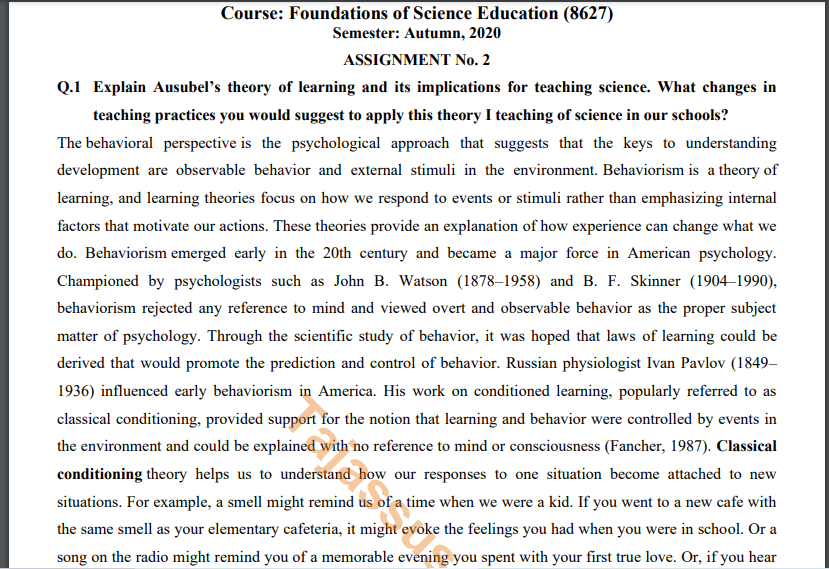 AIOU Solved Assignment No.2 8627/Foundations of Science Education Download
