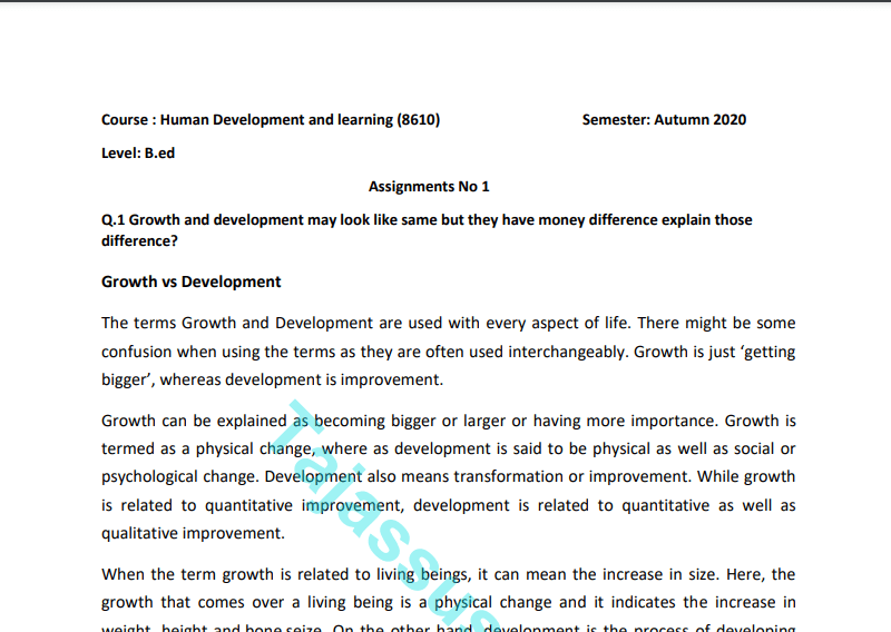 8610/Human Development and learning Solved Assignment Autumn 2020 Download