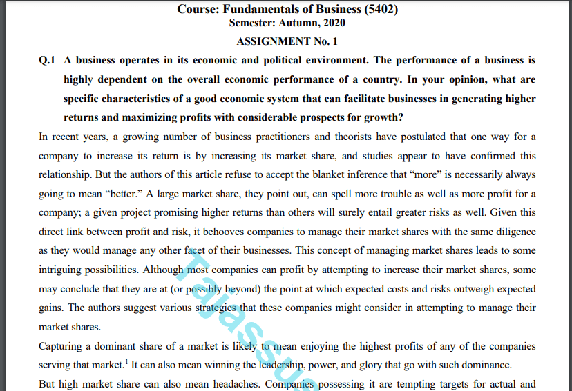 Aiou Fundamentals of Business (5402) Solved Assignment NO.1 Download