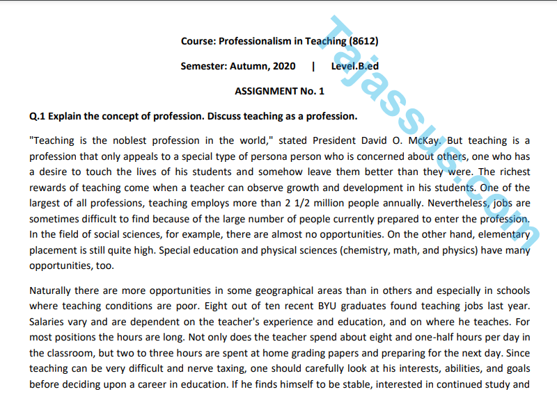 8612/Professionalism in Teaching Aiou Solved Assignment No.1 Download