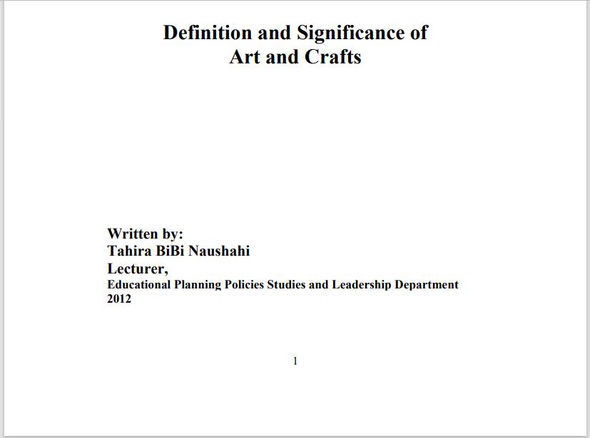 6409/ARTS, CRAFT & CALLIGRAPHY AIOU B.ED Book Download
