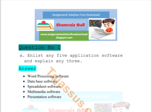 1431 Basics of ICT AIOU Solved paper Download