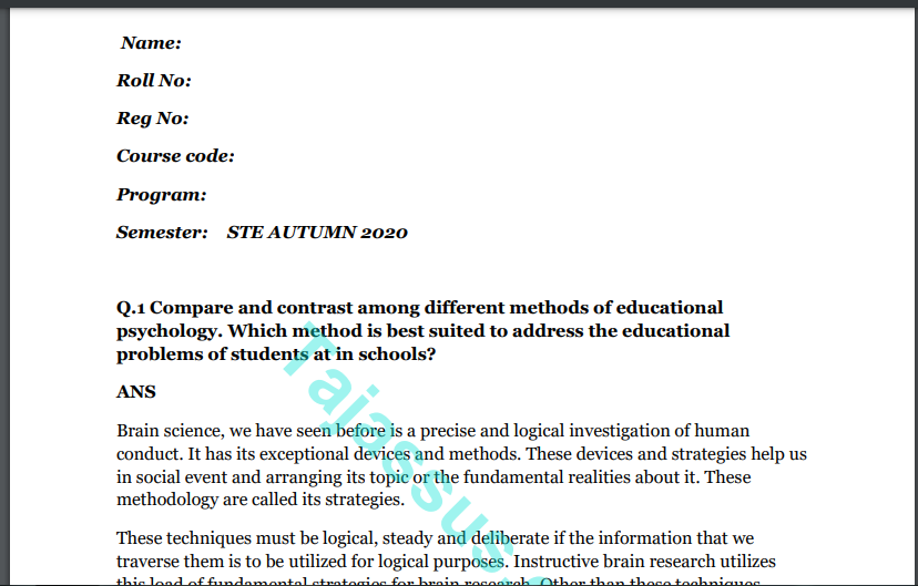 Educational psychology 840 Solved Paper 2021 Download