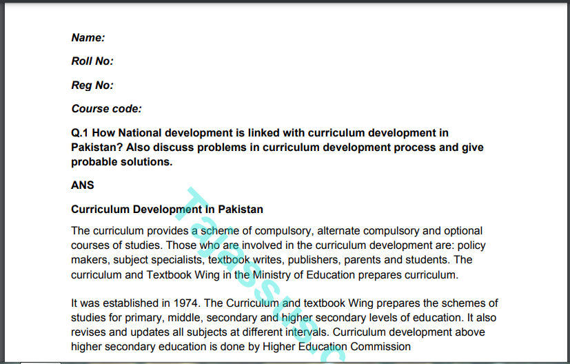 838/Curriculum Development and Implementation Solved Paper 2021