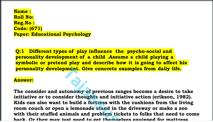 671/Educational Psychology Aiou Solved Paper 2021 Download