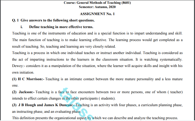 General Methods of Teaching (8601) Solved Assignment No.1 Download