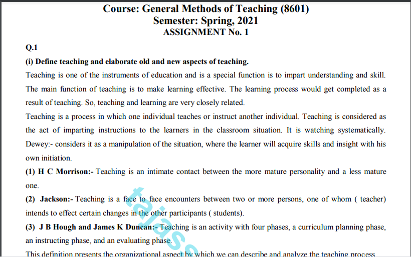 AIOU General Methods of Teaching (8601) Solved Assignment No.1 Spring 2021 Download