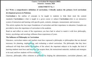 Curriculum Development (8603) Solved Assignment No. 1 Autumn, 2020